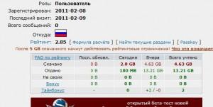 Реальная накрутка рейтинга на rutracker.org. Скриншот аккаунта после использования программа Torrent Ratio Keeper